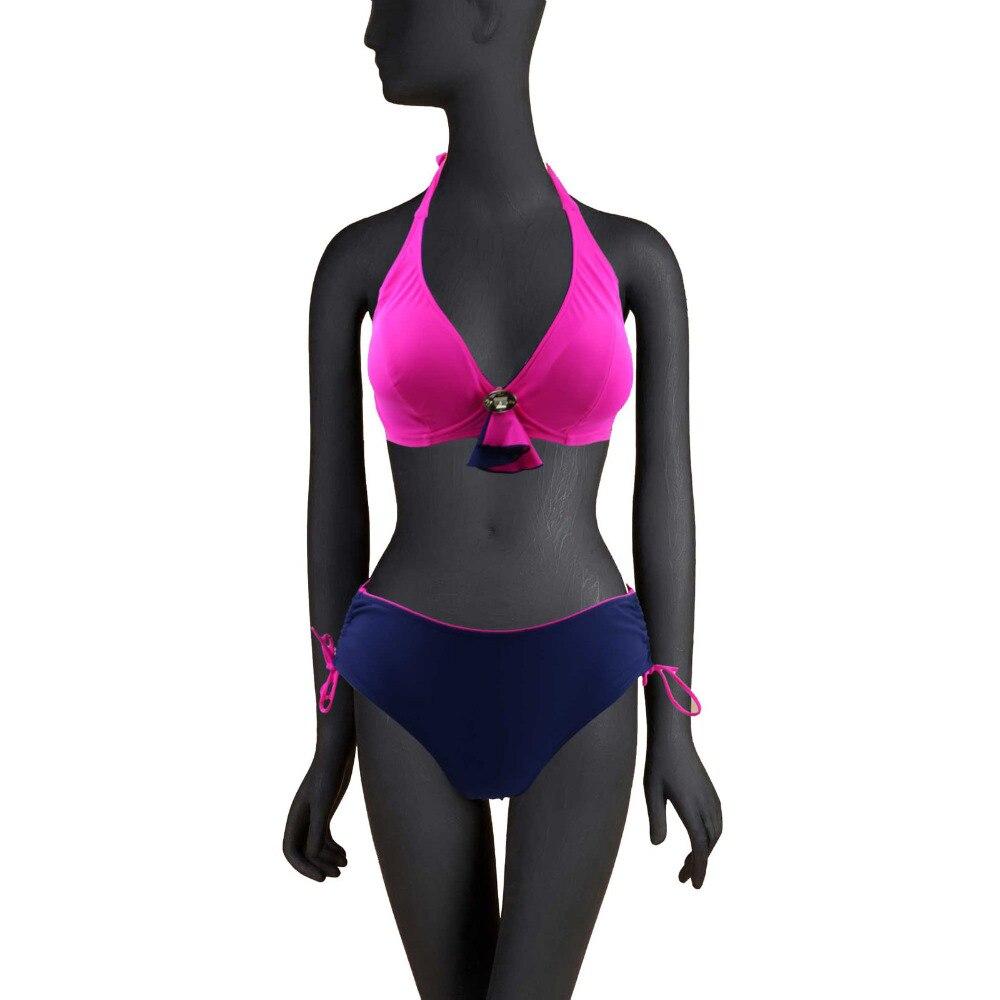 Women Plus Size Bikini Set Wrap Halter Padded  Middle Waist Swimming Suit for Women 2017 Large Size Swimwear Biquinis 3133-1<br><br>Aliexpress
