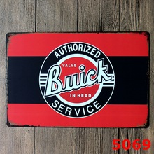 vintage home decoration Authorized Service Valve Buick In Head  Vintage Metal Signs  Wall Stickkers Bar Signs custom neon sign