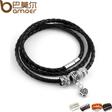 Newest Arrival Silver Charm Black Leather Bracelet for Women Five Colors Magnet Clasp Christmas Gift Jewelry PI0311(China)