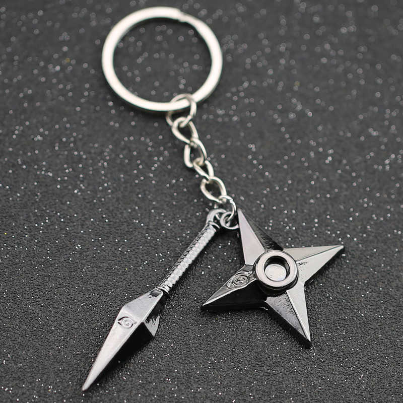 NARUTO Keychain Kunai Shuriken Dart Weapon Konoha Logo Uzumaki Naruto Black Keyring Key Chain Ring Ninja Anime Jewelry Wholesale