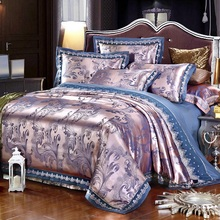 4/6Pcs Silver Gold Blue Luxury Satin Jacquard Bedding set/Bedclothes Queen King size Lace Duvet cover Bed sheet set pillowcase