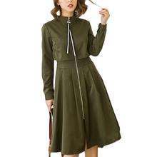 Women Lady Slim Midi Dress Full Zip Front Turtleneck Long Sleeve Spring Autumn Dress Solid Black/Army Green/Khaki/Apricot XH081(China)