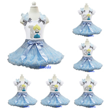 Girls Embroidered Princess Cinderella Bling Silver Number 1 2 3 4 5 6 White Pettitop with Blue Sky Pettiskirt Outfits 1-10Y