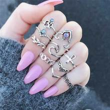 KISS WIFE 10 Pcs/Set Bohemian Ring Vintage Rings Leaves twisted Flower cross Ring For 2017 Fashion(China)