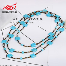 Bohemian Statement Maxi Necklaces & Pendants for Women Handmade Synthetic Turquoises Long Boho Necklace Jewelry