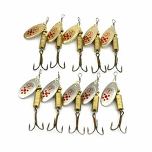 10x Spinner Fishing baits Spoons Sharp Lure Metal Bait Fish Hunting Hook 4# fishing shop live bait