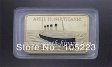 wholesale 50pcs/lot Copper with Gold-Plated Titanic Bullion Bar Memory of tragedy and white star line