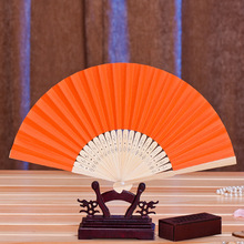 12 Candy Colours Chinese Japanese Tradtional DIY Paper Ladies Fan  Bamboo Foldable Hand Held Fans Event Party Supplies Decoraion