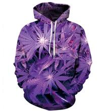 PLstar Cosmos New 3D Hoodie 3D Purple Weed Leaf Print Sweatshirt Fashion Hooded Sweatsuits Tops Size S-XXXL FREE shipping