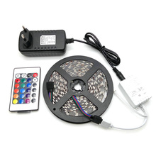 LED Strip Light 5050 RGB 5M 300LED Flexible Strip Light Set + 24Keys Remote Controller + 12V 3A Power Supply Adapter