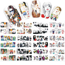 1 Sets 12 Designs Water Transfer Cool Women Mixed Styles Nail Sticker for Full Cover Nails Decals Temporary Tattoos SABN253-264(China)