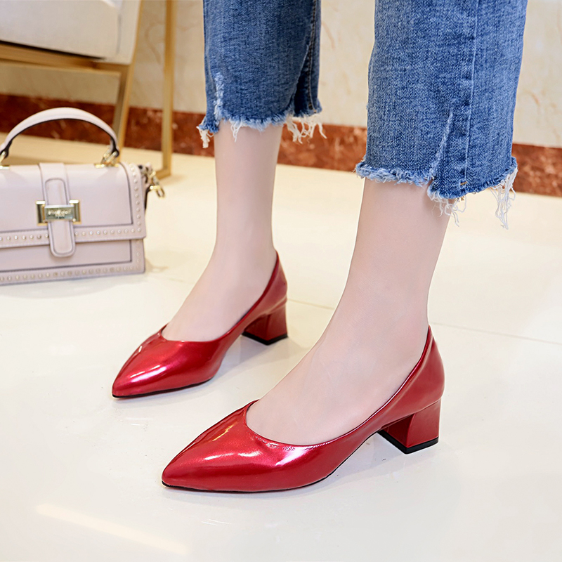 Woman Pointed Toe High Heels Patent Leather Pumps Pointed Toe Dress Shoes Women Ol Office Lady Shoes Square Heeled Pum 66H79 basic pump