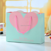Strong Paper Pink Heart Wedding Valentine Bridal Shower Favors Gift Bags With Handle 6Pcs
