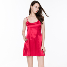 2016 Fashion Summer Sleepwear Women Night Dress Indoor Clothing Plus Size Silk Sleeveless Pijamas(China)