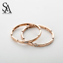 SILVER AGELESS 9K Rose Gold Lovers Wedding Rings for Women Fine Jewelry 2017 New Arrival