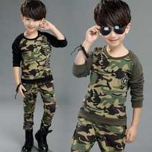 The Boy's Big Boy Spring Camouflage Suit New Movement Long Sleeved +pant Two Piece Sets Free Shipping