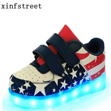 Led Shoes Kids USB Charge 7colors Boys Girls Luminate Sneakers Children Shoes With Light Up Size 25-37 Glowing Shoes(China)
