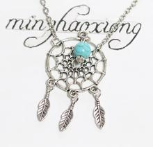 Native American Indian Tribal Necklaces Vintage Silver Dreamcatcher Charm Pendant Necklace beads Statement Chain Choker