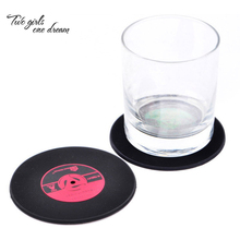 Creative Retro Vintage Record Coasters Compact Disc Silicone 4 Colors Placemats Non Slip Mats Heat Insulation Pad Bowl Pad 10pcs(China)