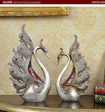 27CM Swan Type With Acryl Diammond Resin Home Office Desk Decoration Tableware(China)