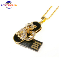 Portworld USB Flash Drive 16GB Flash Drive Lovely Animal Crystal Small Cat USB Memory Stick 2.0 Pen Drive Gold(China)