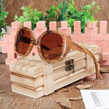 BOBO BIRD AG001b Zebra Wooden Sunglasses Women Men With Big Size Frame And Brown Polarized Lens As Best Gift OEM Dropshipping(China)
