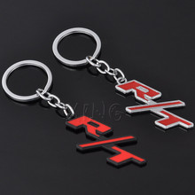 Fashion Metal RT Logo Car Key Chain Keychain Key Ring Keyring Keyfob For Jeep Dodge Challenger Charger RAM Journey Car Styling