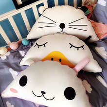 Hot Sale IKEA INS Cartoon Animal Pillow Cat Duck Waist Cushions Sofa Hand Pillow Deco Crystal Cashmere PPCotton Cushions Kid Toy