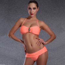 High quality swimsuit 2016 Halter Neck bikini women Folding bottom swimwear Orange Sexy Low waist bikinis Feminino bathing suits