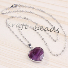 Kraft-beads New Stylish Forever Lvoely Heart Pendant Natural Purple Quartz Amethysts Necklace Link Chain Valentine's Day Gift(China)