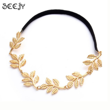 SCCJY Fashion Gold Alloy Romantic Olive Branch Leaf Headband For Women Elastic Hair Accessories Y2R2C(China)