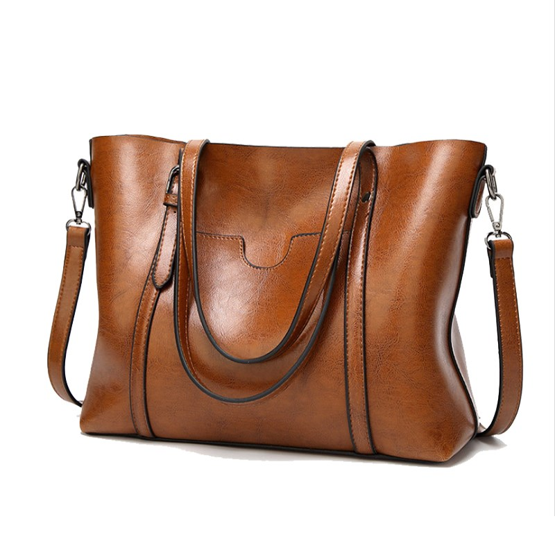 2018 Large Capacity Women Bag Vintage Ladies Handbags Zipper Casual Pu Clutch Oil Wax Leather Totes Women Shoulder Bags Tote<br>