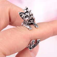 LNRRABC Hot  Vintage Gothic Style Personality Exaggerated Terrier Dog Wrap Opening Finger Ring Unisex Jewelry Gift