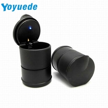 Yoyuede 1pc LED Portable Car Truck Auto Office Cigarette Ashtray Holder Cup Black quality first DROP SHIP(China)