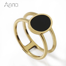 A&N Wide Big Geometry Black Enamel Finger Rings Stainless Steel Layer Wedding Women Rings Rose/Golden Color Jewelry Bague Aners(China)