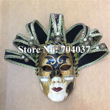 (36 pieces/lot) New black color Handmade full-face pulp elegant traditional Venetian carnival Jester mask