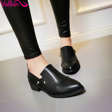 VALLKIN size 34-43 Slip on British Style Concise Ladies Spring Soft Leather Shoes Thick Heel Woman Pump Pointed Toe Casual Shoe