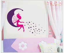 Angel Girl Moon Stars PVC Wall Stickers for Kids Room Decal Removable Wall Sticker Home Decoration Accessories