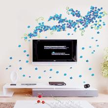 The new background wall large blue plum flower wall sitting room adornment background wall posts