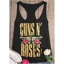 2017 Womens Casual Loose Top Tanks Guns N' Roses Racerback Tank T shirt Tops Ladies Tank Sleeveless O Neck Basic Tee(China)