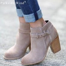 Parkside Wind Autumn Ankle Women's Boots Heel Height 6cm Round Toe Flock Women Shoes Fausx Suede Fashion Women Boots 1295-5