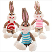 100cm Bugs Bunny Wearing Clothes Kawaii Plush Toys Bunny Stuffed Animals comfortable soft Rabbit Kids Toys(China)