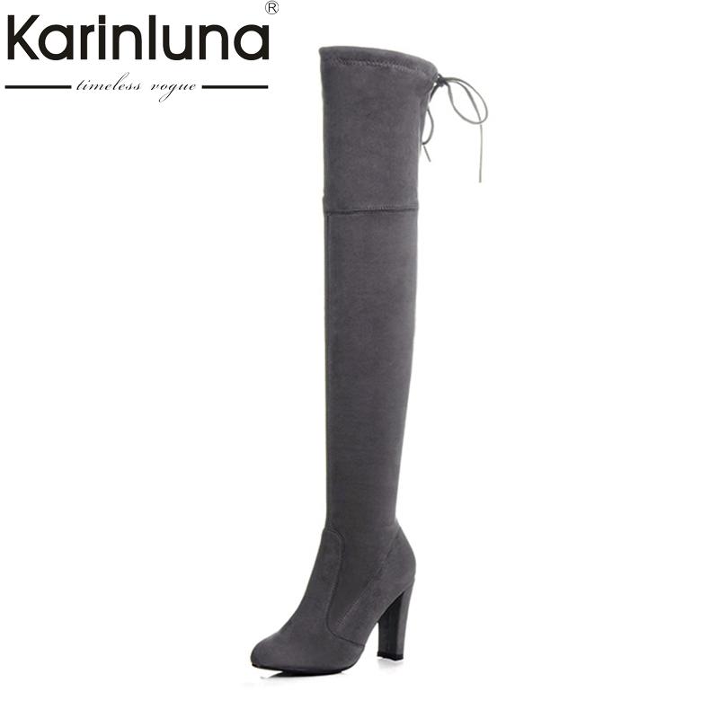 KarinLuna Brand Design Large Size 34-43 High Heels Women Shoes 2017 Hot Sale Slip On Platform Long Boots Woman Elastic<br>