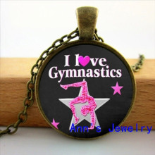I Heart Gymnastics On Pink Background Glass Tile Pendant Gymnastics Neckalces I love Gymnastics Jewelry Glass Cabochon HZ1