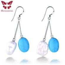 Ethnic 100% genuine freshwater pearl double dangle earrings with blue green red real love women jewelry, fashion jewelry(China)