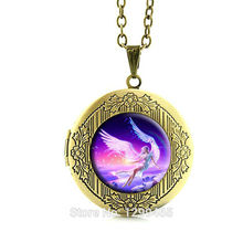 2017 Collier Doc Mcstuffins Inspired Wholesale Halloween Exquisite Jewelry Light Of Hope Angel Pendant Necklace Locket N142(China)