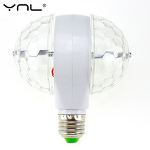 YNL Lampada LED Lamp E27 6W 85-265V Colorful Auto Rotating RGB Bulb Crystal Stage Light Magic double Balls DJ party disco effect