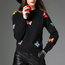 2017 New Arrival Yanmuxi Office Lady Flat Knitted Woman Sweater Black Butterfly O-neck Slim Pullovers Embroidery Solid Casual