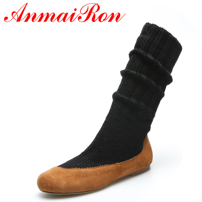 ANMAIRON Black Shoes Woman Round Toe Slip-on Spring and Autumn Mid-calf Boots for Women Flats Casual Fashion Boots Size 34-39<br><br>Aliexpress