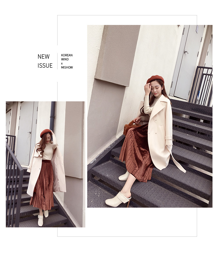Mishow 19 autumn and winter woolen coat female Mid-Long New Korean temperament women's popular woolen coat MX17D9636 20